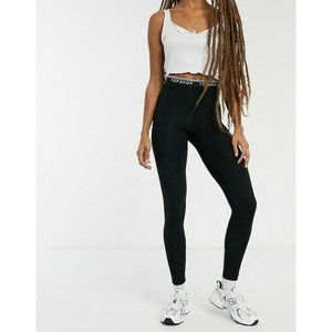 Topshop Black Logo Waistband High Waist Leggings